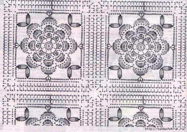 Квадратний мотив з квіткою, гачком
